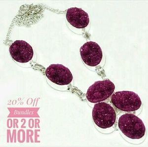 Jewelry - Genuine Fuchsia Druzy & Sterling Silver Necklace